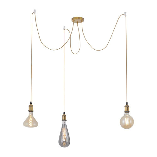 Leuchten Direkt DIY 3 Light Matt Brass 3mtr Suspension Pendant Light