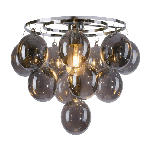 Leuchten Direkt DRIP Polished Chrome with Smoked Coloured Glass Ceiling Light