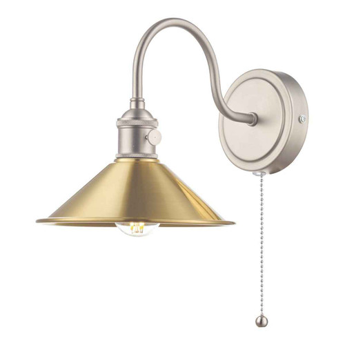 Hadano 1 Light Antique Chrome With Aged Brass Shade Wall Light