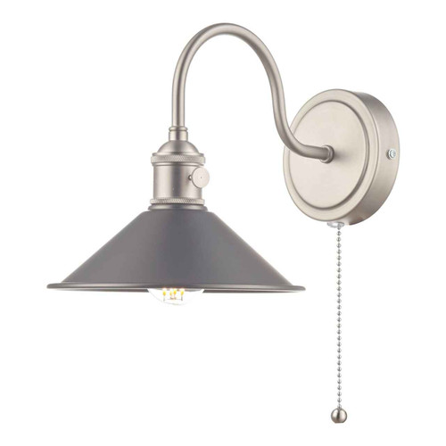 Hadano 1 Light Antique Chrome With Antique Pewter Shade Wall Light