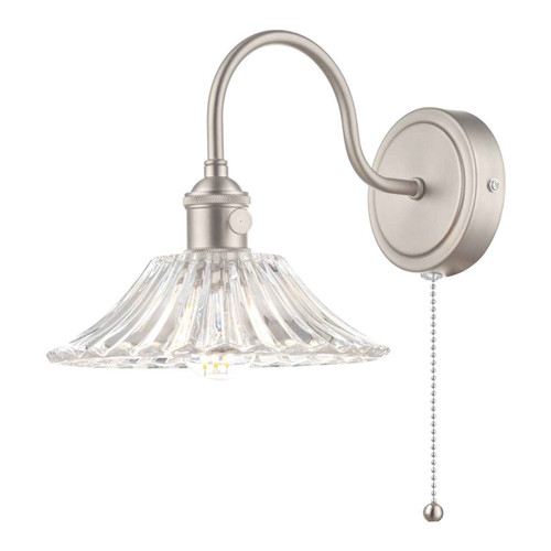 Hadano 1 Light Antique Chrome With Clear Flared Glass shade Wall Light
