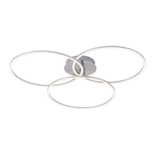Leuchten Direkt IVANKA 3 Light Satin Chrome Triple Ring Dimmable Ceiling Light