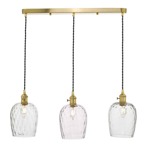 Hadano 3 Light Brass with Dimpled Glass Shades Lighting Suspension