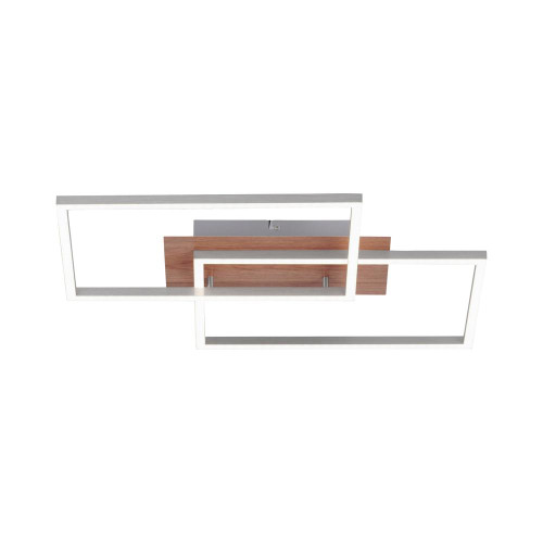 Leuchten Direkt IVEN 2 Light Medium Satin Chrome with Wood Effect Double Square Ceiling Light