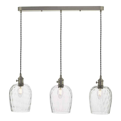 Hadano 3 Light Antique Chrome with Dimpled Glass Shades Lighting Suspension
