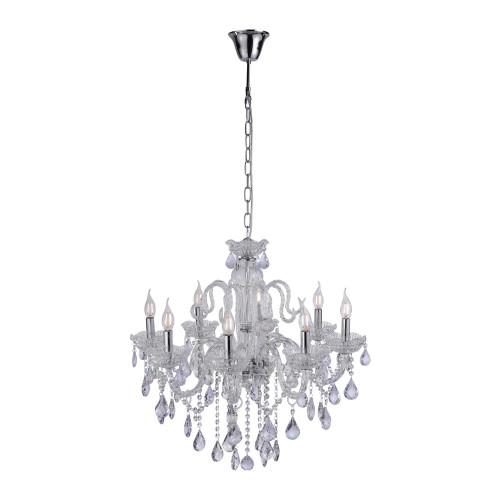 Paul Neuhaus GRACIA 8 Light Silver and Crystal Chandelier