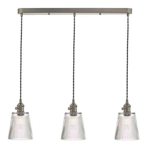 Hadano 3 Light Antique Chrome with Ribbed Glass Shades Lighting Suspension