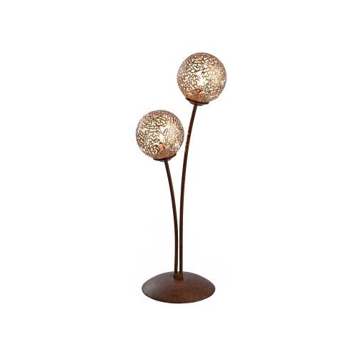 Paul Neuhaus GRETA 2 Light Rust with Gold Coloured Glass Table Lamp