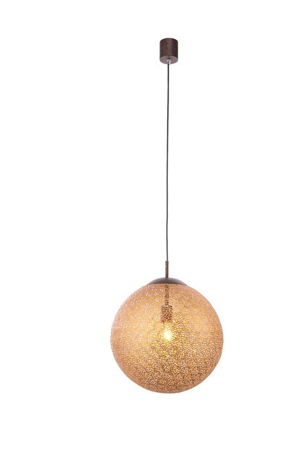 Paul Neuhaus GRETA 40cm Rust with Gold Coloured Glass Single Pendant Light