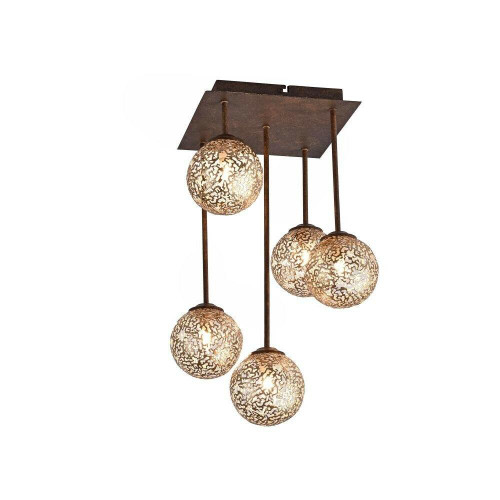 Paul Neuhaus GRETA 5 Light Rust with Gold Coloured Glass Semi Flush Ceiling Light