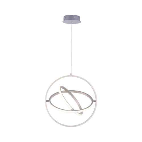 Leuchten Direkt JELLA 2 Light Satin Silver Triple Ringed Pendant Light