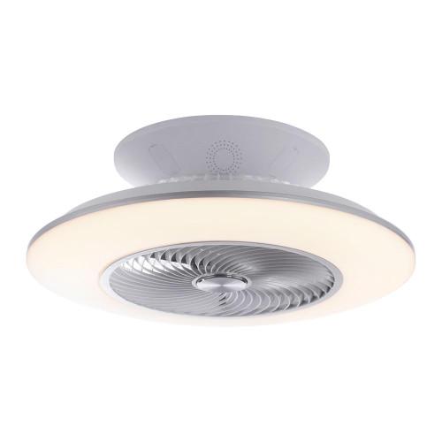 Leuchten Direkt LEONARD 58cm Silver and White with Fan Semi Flush Ceiling Light