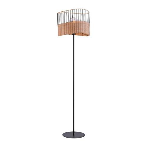 Leuchten Direkt REED Black with Wood Shade Floor Lamp