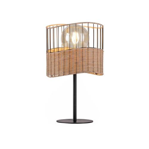 Leuchten Direkt REED Black with Wood Shade Table Lamp