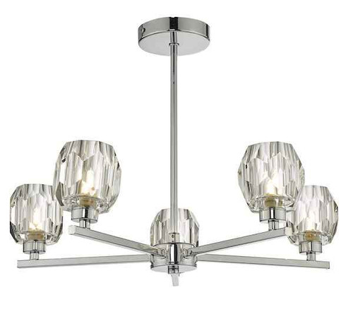 Idina Polished Chrome 5 Light Semi Flush Pendant Light