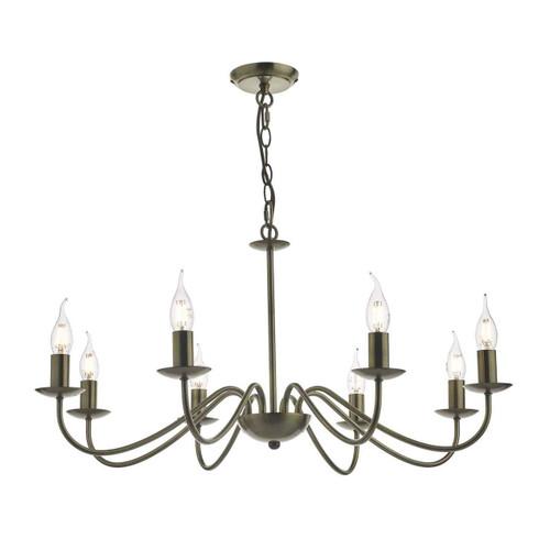 Irwin Antique Brass 8 Light Dual Mount Pendant Light Chandelier