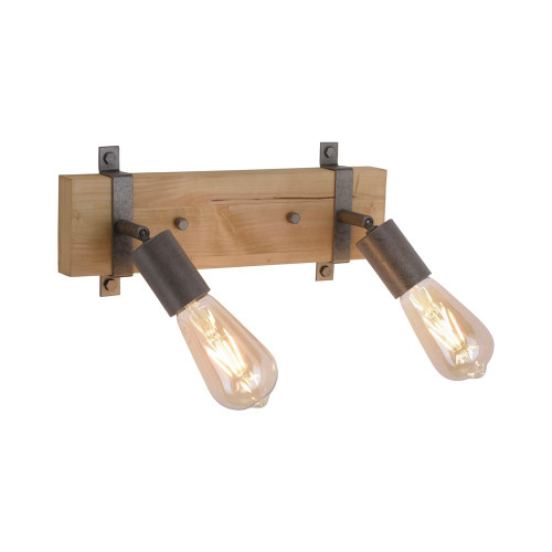 Leuchten Direkt SLAT 2 light Black and Wood Adjustable Wall or Ceiling Spotlight