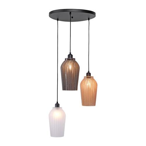 Leuchten Direkt TABEA 3 Light Black with Multi-Coloured Shades Pendant Light