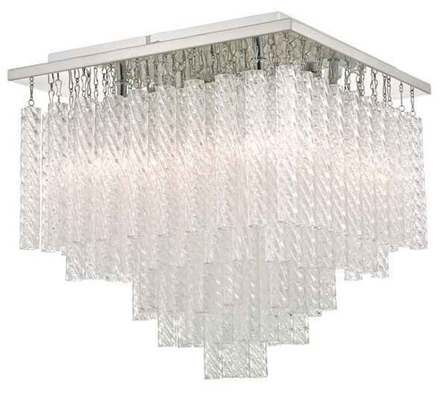 Isumi Glass & Polished Chrome 4 Light Bathroom IP44 Flush Ceiling Light