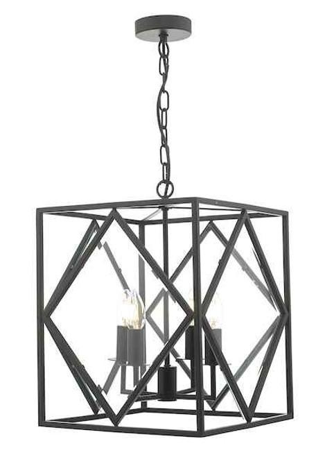 Jepsen 4 Light Black and Bevelled Edge Glass Lantern