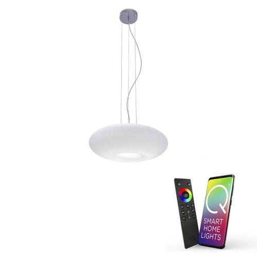 Paul Neuhaus Q-ELINA Chrome and White Glass Smart LED Pendant Light