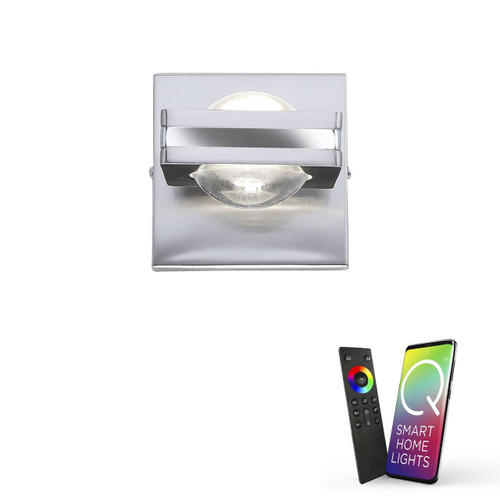 Paul Neuhaus Q-FISHEYE 2 Light Brushed Chrome Smart LED Wall Light