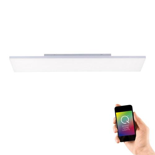 Paul Neuhaus Q-FRAMELES 120x30cm Silver and White Smart LED Ceiling Light