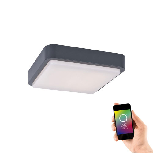 Paul Neuhaus Q-LENNY Anthracite Square IP65 Smart LED Ceiling Light