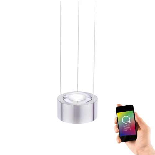 Paul Neuhaus Q-LENS 2 Light Satin Chrome Smart LED Pendant Light