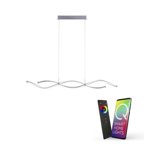 Paul Neuhaus Q-MALINA 2 Light Brushed Chrome Smart LED Bar Pendant Light