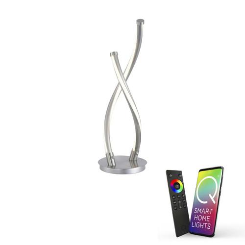 Paul Neuhaus Q-MALINA 2 Light Brushed Chrome Smart LED Table Lamp