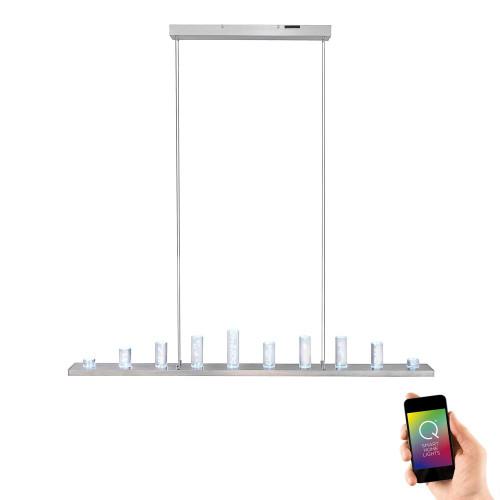 Paul Neuhaus Q-SKYLINE 12 Light Satin Chrome Smart LED Bar Pendant Light