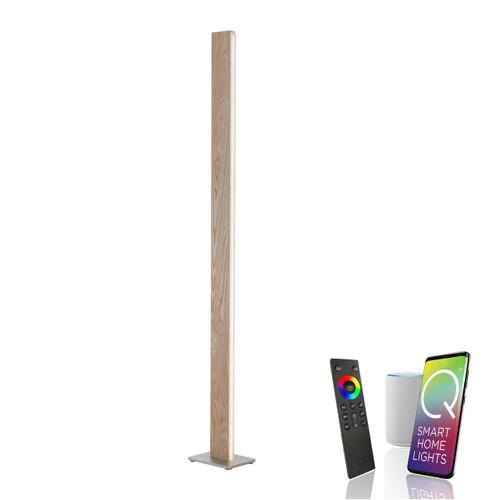 Paul Neuhaus Q-TIMBER Natural Wood Smart LED Floor Lamp