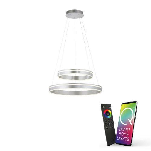 Paul Neuhaus Q-VITO 2 Light Satin Chrome Double Ringed Smart LED Pendant Light