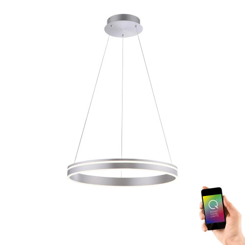 Paul Neuhaus Q-VITO 59 Steel Ringed Smart LED Pendant Light