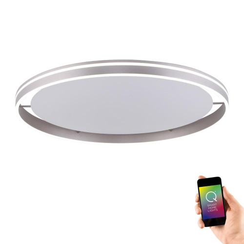 Paul Neuhaus Q-VITO 79.4 Steel Ringed Smart LED Ceiling Light