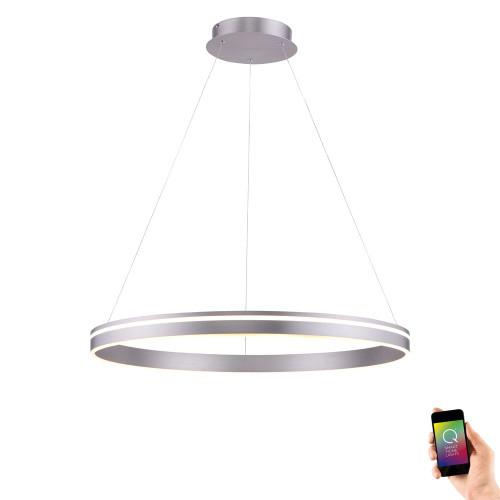 Paul Neuhaus Q-VITO 79.4 Steel Ringed Smart LED Pendant Light