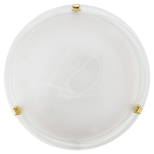 Eglo Lighting Salome White Glass Alabaster with Brass Enclosure 300 Wall and Ceiling Light