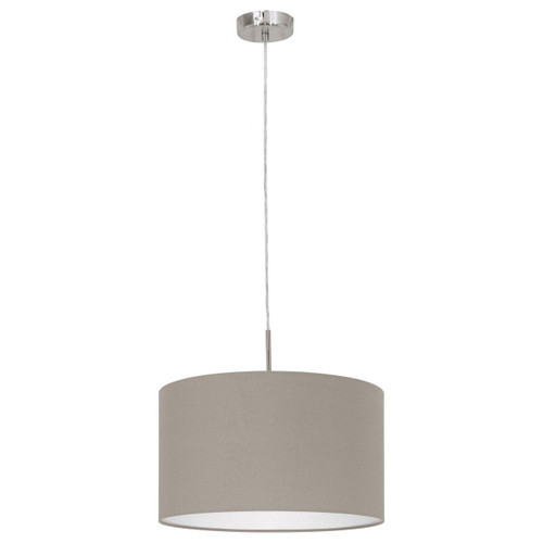 Eglo Lighting Pasteri Satin Nickel with 380 Taupe Fabric Shade Pendant Light