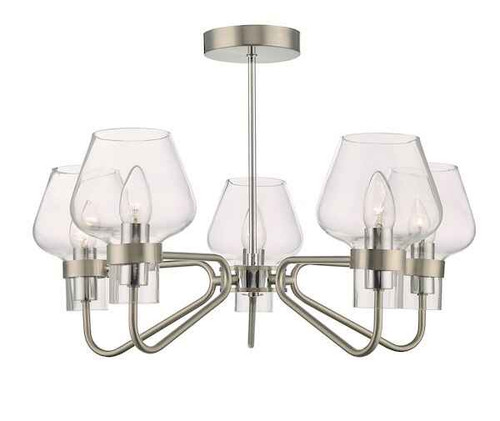 Keta 5 Light Satin Chrome & Polished Chrome Semi Flush Pendant