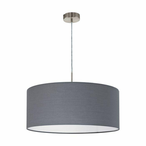 Eglo Lighting Pasteri Satin Nickel with 530 Grey Fabric Shade Pendant Light