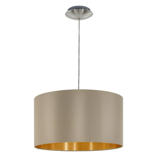 Eglo Lighting Maserlo Satin Nickel with 380 Taupe and Gold Pendant Light