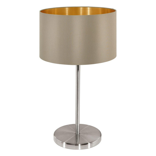 Eglo Lighting Maserlo Satin Nickel with Taupe and Gold Fabric Table Lamp