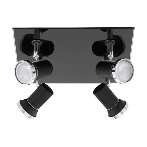Eglo Lighting Tamara 4 Light Black and Chrome with Clear Glass Plate Spotlight