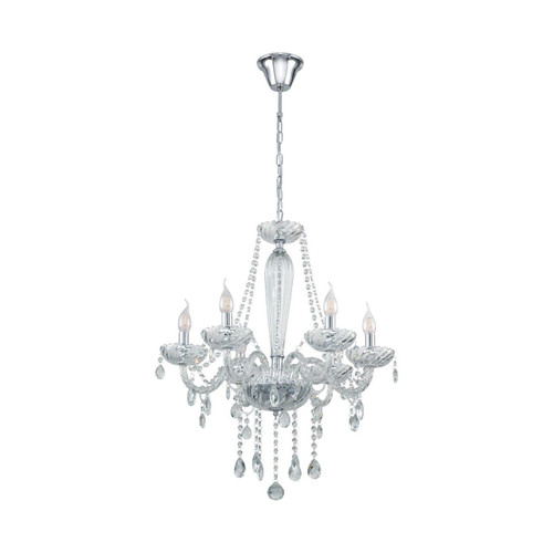 Eglo Lighting Basilano 1 6 Light Chrome with Clear Glass Chandelier