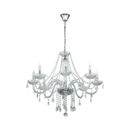 Eglo Lighting Basilano 1 8 Light Chrome with Clear Glass Chandelier