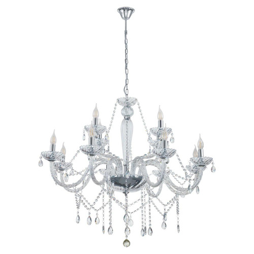 Eglo Lighting Basilano 1 12 Light Chrome with Clear Glass Chandelier
