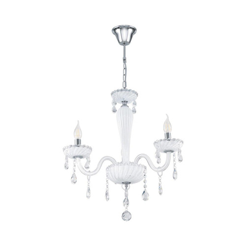 Eglo Lighting Carpento 3 Light Chrome and White with White Glass Chandelier