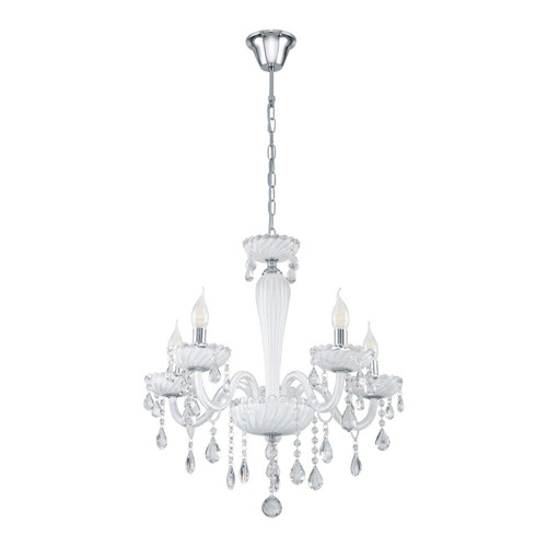 Eglo Lighting Carpento 5 Light Chrome and White with White Glass Chandelier