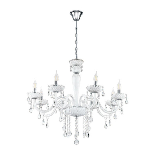 Eglo Lighting Carpento 8 Light Chrome and White with White Glass Chandelier